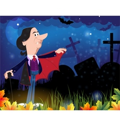 Old vampire in the night cemetery vector