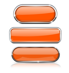 Orange oval buttons with chrome frame vector