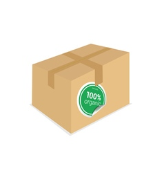 Organic sticker on box vector