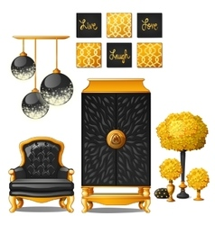 Rich vintage set of furniture black and gold color vector image
