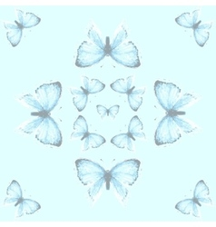 Seamless pattern with blue copper-butterfly vector image