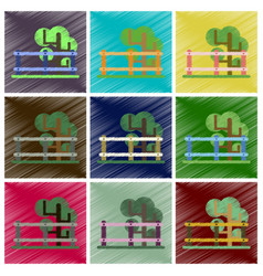 Set of flat icons in shading style fenced tree vector