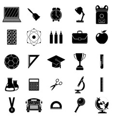 Set of school icons black and white style white vector