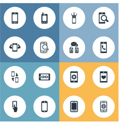 set of simple smartphone icons vector image vector image