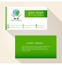 Simple save the planet green business card design vector
