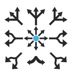 Split arrows flat icon set vector