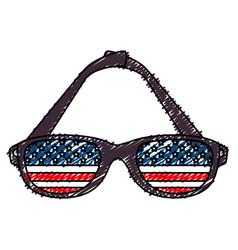 Sunglasses with usa flag vector