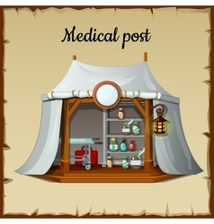Tent medical facility on a beige background vector