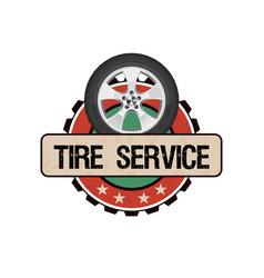 Tire wheel service vector
