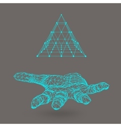 triangle pyramid on the arm The hand holding a vector image