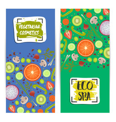 Vegetarian cosmetics vertical flyers set vector