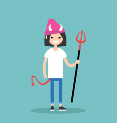 Young female character wearing devil elements vector