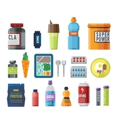Sports food nutrition icons vector