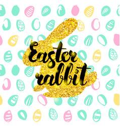 Easter rabbit handwritten card vector