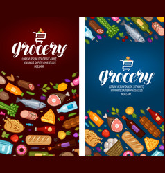 Grocery store label food supermarket banner vector