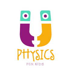 Physics for kids logo symbol colorful hand drawn vector