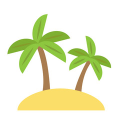 Island flat icon travel and tourism palm trees vector