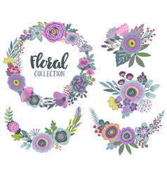 Graphic set with beautiful flowers floral vector