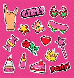 Girls trendy doodle with lipstick cake vector