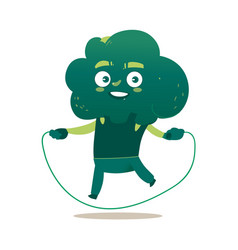 Funny smiling broccoli character with jumping rope vector