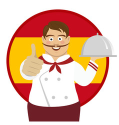 spanish chef holding tray over spain flag vector image
