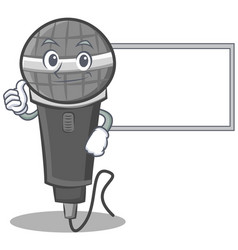 Thumbs up with board microphone cartoon character vector