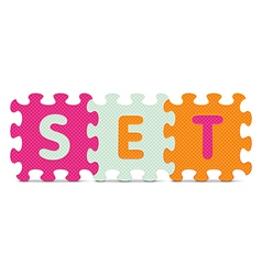 Set written with alphabet puzzle vector