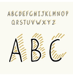thin alphabet shadow vector image