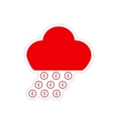 Stylish sticker on paper rain cloud coins vector