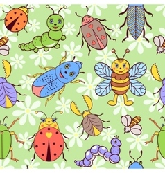Seamless pattern with cute colorful insects vector