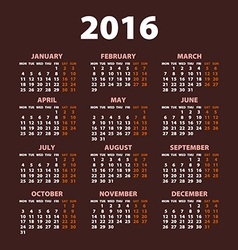 2016 calendar simple design date color vector