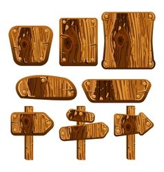 A set of wooden boards panels and signs vector