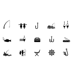 Fishing isolated icons vector