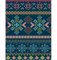 Knitted bright seamless winter holiday pattern vector