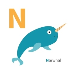Letter n narwhal zoo alphabet english abc with vector