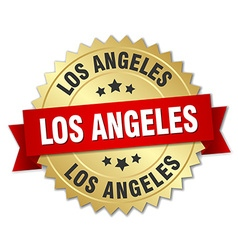 Los angeles round golden badge with red ribbon vector