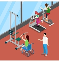 Disable woman on wheelchair exercising in gym vector