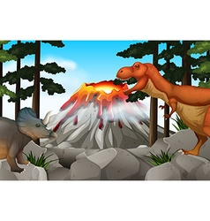 Scene with dinosaurs and volcano vector