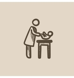 Mother taking care of baby sketch icon vector