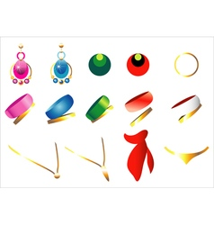 A set of jewelery vector image