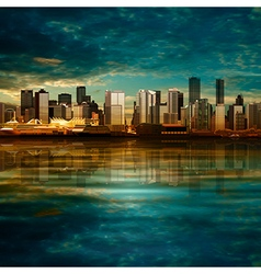 abstract background with panorama of city on green vector image vector image