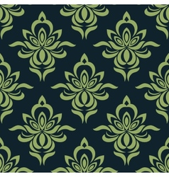 Abstract orchid flowers in damask seamless pattern vector