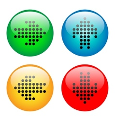 Arrows glass button icon set vector image vector image