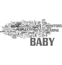 Baby monitors for deaf people text word cloud vector