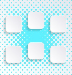 Blank white square buttons vector