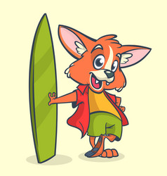 Cartoon fox surfer with surfboard vector