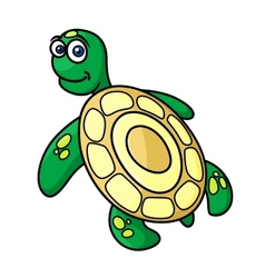 Cartoon sea turtle character vector image