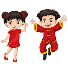 Chinese boy and girl in red dress vector