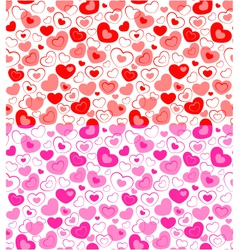 Dual seamless hearts pattern vector image vector image