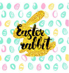 Easter rabbit handwritten card vector